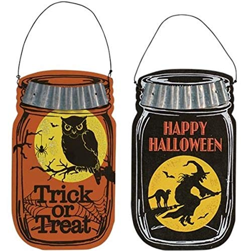 Wooden Halloween Decorations (S&C Farmhouse Mason Jar Wooden Halloween Ornament Set, 6