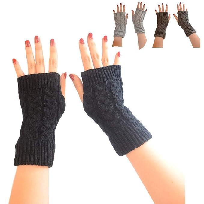 Super Soft Angora Wool Thumb Hole Half Fingerless Warm Winter Gloves for Women Ladies