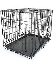 """30"""" Double Door Metal Dog Cage Kennel Crate Pet Door Puppy Rabbit Playpen"""