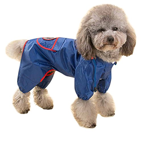 Topsung Dog Raincoat Waterproof Puppy Jacket Pet Rainwear Clothes for Small Dogs/Cats Blue