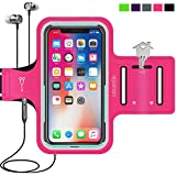 Cell Phone Armband for iPhone X,XR,XS 8 7 6 6S, Samsung Galaxy S8 S7, with Case (Otterbox/Lifeproof), Running Fitness Exercise Workout Sports case Water Resistant Key/Card Holder, Cable Locker [Pink]