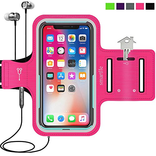 - smartlle iPhone & Phone Armband Running Workout Holder for iPhone X/XS,8/7/6s/6, Samsung Galaxy S10/S10E/S9/S8/A/J,Pixel, Moto, with Their Cases on, Fitness Gym Gear for Sports,Exercise,Hiking - Pink