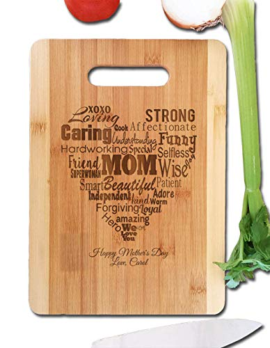 Mothers Gift Heart Love Mom ( Bamboo Personalized, Medium 9.5x13 ) Serving Cutting Board for Mothers Day Birthday or Christmas