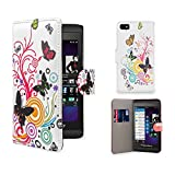 32nd® Design book wallet PU leather case cover for Blackberry Z10, including screen protector and cleaning cloth - Colour Butterfly
