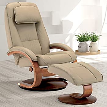 Exceptionnel Oslo Collection Mac Motion Recliner With Matching Ottoman In Cobblestone  Top Grain Leather With Walnut Frame