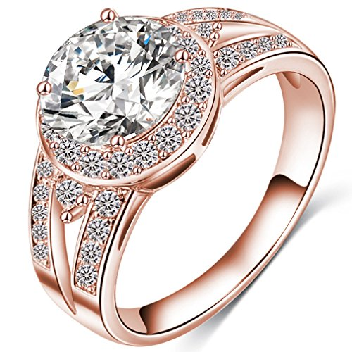 (FENDINA Womens Ciss Cross Solitaire Wedding Engagement Rings Best Promise Rings for Her - Round Cut CZ Crystal - 18K Rose Gold Plated)