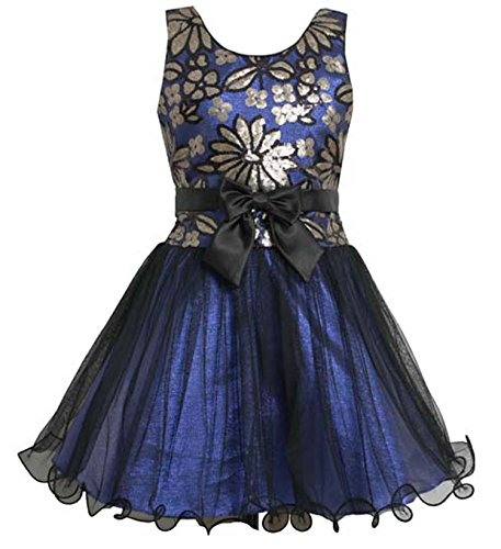 Big Girls Tween Royal-Blue Sequin Floral Mesh Overlay Dress (10, Royal)