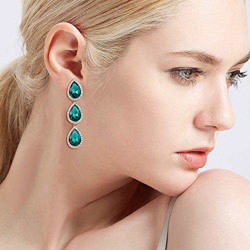 f1b6595f5 EleQueen Women's Gold-tone Austrian Crystal Teardrop Pear Shape 2.4 ...