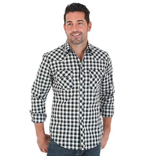 (Wrangler Men's Big and Tall Retro Black and Cream Plaid Long Sleeve Western Snap Shirt (Large Tall))