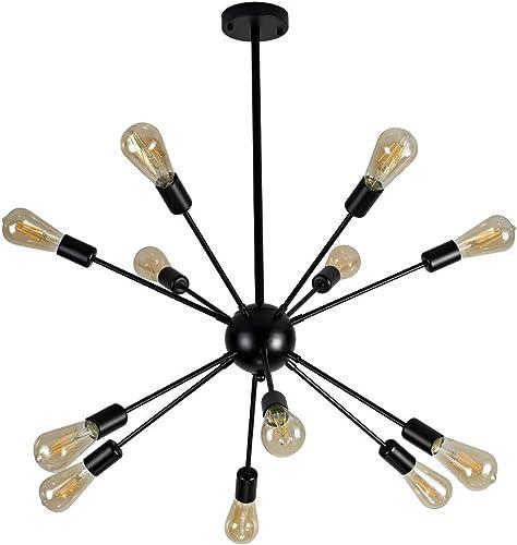 Vintage Sputnik Chandelier 12 Lights,Black Modern Ceiling Light Fixture,Industrial Pendant Lighting for Kitchen Dining Room Living Room Kitchen 12 Bulbs Included