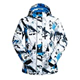 FISOUL Men Fashion Ski Snowboard Jacket Waterproof Windproof Outdoor Coat Blue&White XXL