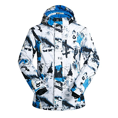 FISOUL Men Fashion Ski Snowboard Jacket Waterproof Windproof Outdoor Coat Blue&White L by FISOUL