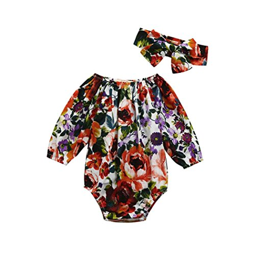Price comparison product image Ruhiku GW Baby Girls Rompers,  Newborn Flower Printed 3 / 4 Sleeve Bodysuits Toddler Jumpsuit Outfits Clothes 2Pcs Sets (0-6 Months,  Multicolor)