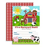 Barnyard Bash Farm and Barn Themed Birthday Party Invitations, Ten 5''x7'' Fill In Cards with 10 White Envelopes by AmandaCreation