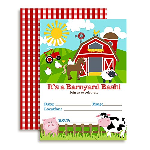 Barnyard Bash Farm and Barn Themed Birthday Party Invitations, 20 5