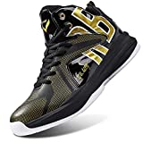 Basketball Sneakers for Boys Equality Signature Comfortable Shoes for Boys Breathable Hightop Sneakers Durable Basketball Shoes for Kids Non-slip Youth Boys Basketball Shoes Tennis Shoes Size 6 Gold