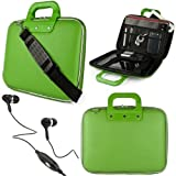 """Green SumacLife Cady Bag Textured Hard Case w/ Removable Shoulders Strap for Asus eee Pad Slider SL101 Android 10.1"""" Sliding Tablet + Black Handsfree Hifi Noise Isolating Stereo Headphones with Windscreen Microphone and Soft Silicone Ear Tips"""