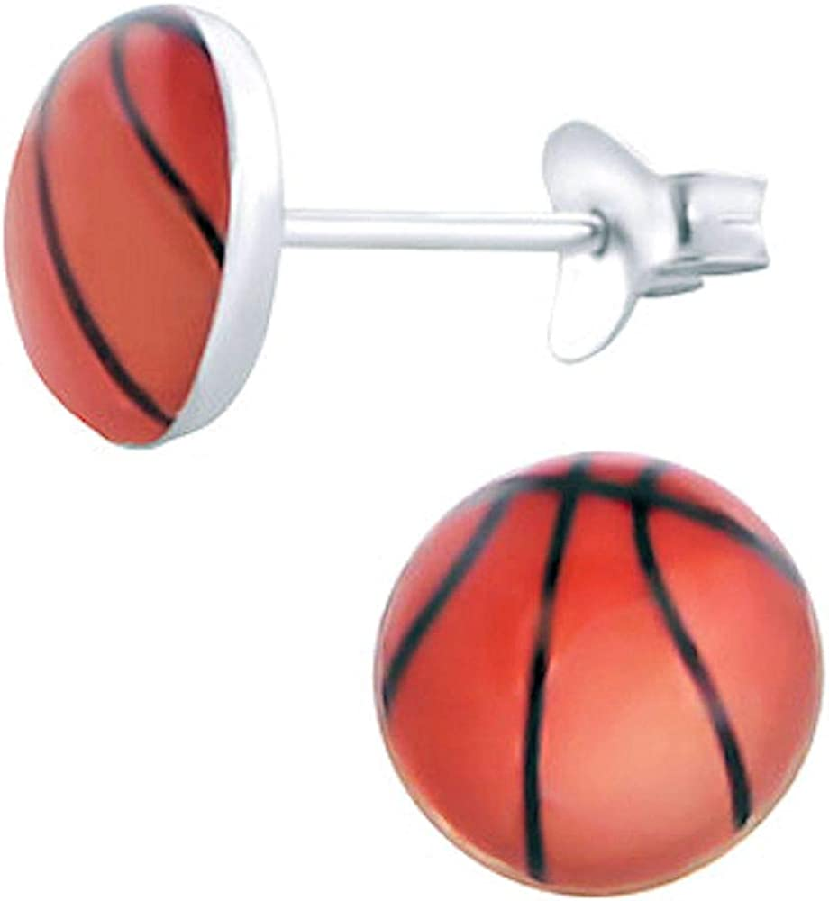 So Chic Joyas© pendientes niño redondo 7 mm balón baloncesto ...