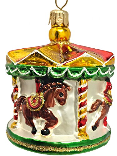 Glass Ornament Carousel (Merry Go Round Carousel Polish Blown Glass Christmas Tree Ornament Decoration)
