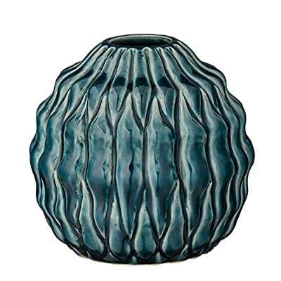 Bloomingville Stout Teal Ceramic Vase - Colors: teal Materials: ceramic Measurements: 4.75L x 4.25H x 4.75W - vases, kitchen-dining-room-decor, kitchen-dining-room - 51yYSe 4wVL. SS400  -
