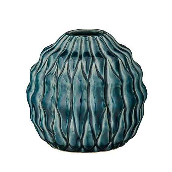 Bloomingville Stout Teal Ceramic Vase - Colors: teal Materials: ceramic Measurements: 4.75L x 4.25H x 4.75W - vases, kitchen-dining-room-decor, kitchen-dining-room - 51yYSe 4wVL. SS570  -