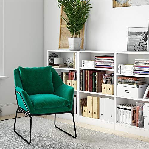 Novogratz DZ73659 Alivia Accent, Overstuffed Chair with Premium Velvet Upholstery, Green