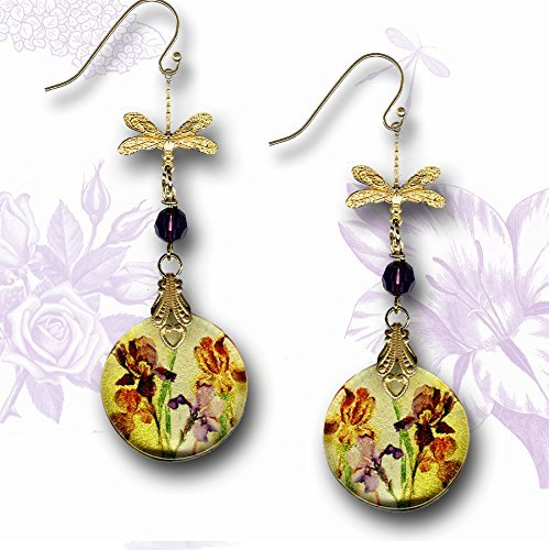 Iris Watercolor Dragonfly Dangle Earrings - Two Sided Glass Art Jewelry - Nouveau Jardin Collection - Golden Shimmery Purple Iris Earrings (Iris Vermeil)