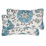 Mika Home Pack of 2 Jacquard Circle Floral Oblong Throw Pillow Covers Waist Pillow Shells for 12X20 Inserts Cream Blue