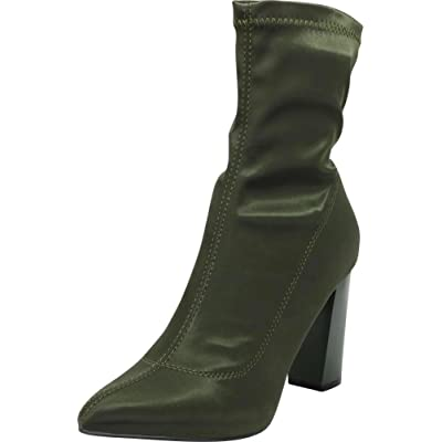 Cambridge Select Women's Pointed Toe Soft Stretch Sock Style Chunky Block Heel Ankle Bootie | Shoes