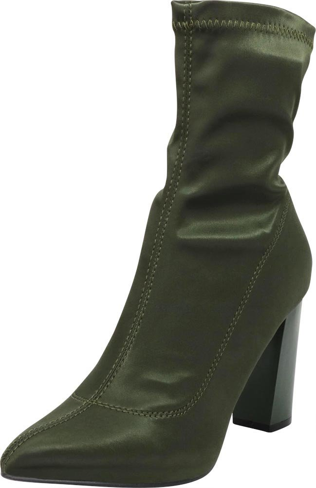 Cambridge Select Women's Closed Pointed Toe Soft Stretch Sock Style Slip-On Chunky Block Heel Ankle Bootie,8 B(M) US,Olive Satin