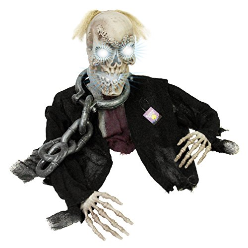Halloween Haunters Animated Skeleton Groundbreaker with Strobe Light Moving Zombie Skull Man Graveyard Prop Decoration - Life Size, Scary Spooky Howls - Yard, Lawn, Haunted House, Graveyard, Tombstone