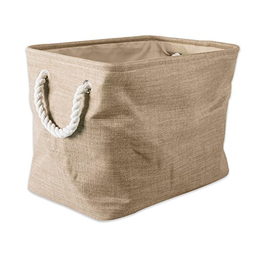 "DII Collapsible Variegated Polyester Storage Basket or Bin with Durable Cotton Handles, Home Organizer Solution for Office, Bedroom, Closet, Toys, & Laundry (Large – 18x12x15""), Taupe"