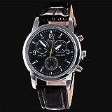 YaidaLuxury Fashion Crocodile Faux Leather Mens Analog Watch Wrist Watches (Black)