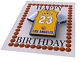 Tarjetas de cumpleaños con diseño de camiseta de baloncesto de la NBA (personalizable), color Los Angeles Lakers NBA Basketball Greeting Card: Amazon.es: ...