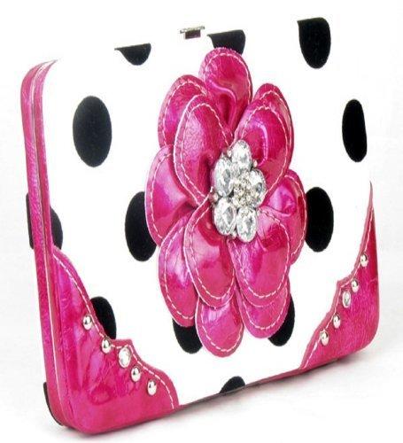 - Polka Dot Pink Flower Clutch Opera Wallet