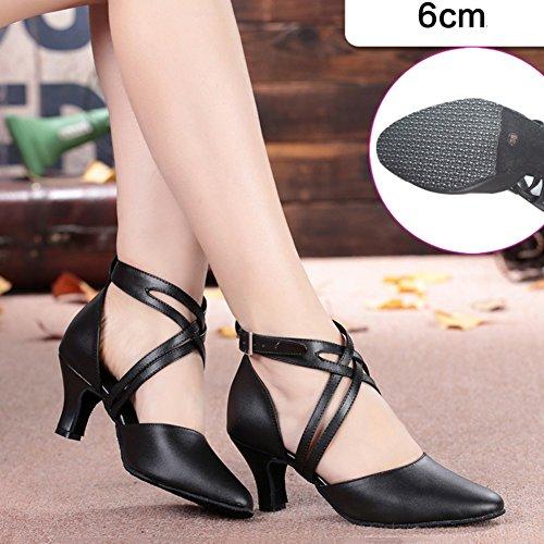 LIXIONG Baotou Zapatos de Baile Latino Mujer Adulto Tacón Alto Diseño de Doble Correa, Altura del talón 5/6 / 8cm, Negro -Zapatos de Moda (Color : 5cm, Tamaño : EU38/UK5.5/240) 6cm