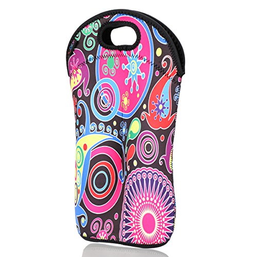 (iColor insulated Wine bag tote Holder Covers for Champagne,Wine,Beer Bottles,Beverages,Sodas,Sports Water Bottles,Baby Bottles,Make of thick Neoprene,Zipper Closure,Machine-Washable Wine)