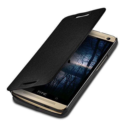kwmobile Case for HTC One M7 - Book Style Flip Folio Slim Wallet Cover with Stand Feature - Black