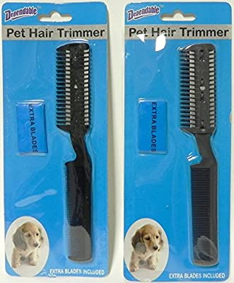2 Pack Manual Pet Hair Trimmer with Extra Blades and Comb Grooming Dog Cat Razor from Dependable Industries inc