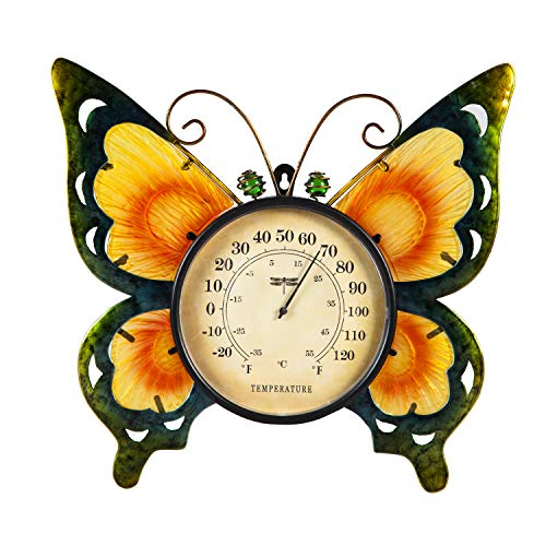 Evergreen Garden Butterfly Outdoor Wall Thermometer (Decorative Wall Thermometer)