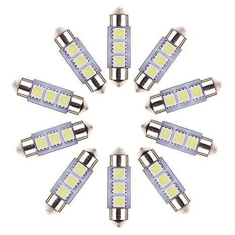 Neuftech 10 X Bombilla Lámpara 36mm 3 LED 5050 SMD del festoon Luz Interior del Coche,Blanco: Amazon.es: Electrónica
