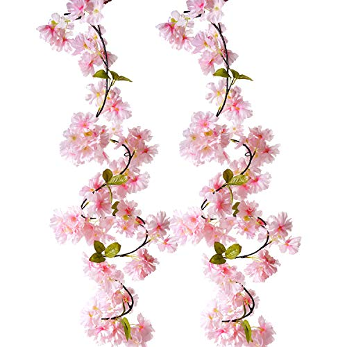 BEFINR Artificial Cherry Blossom Vine Pink Petal Flower Forever Plant Garland for Art Home Decoration Wedding Party Garden Office 2 ()