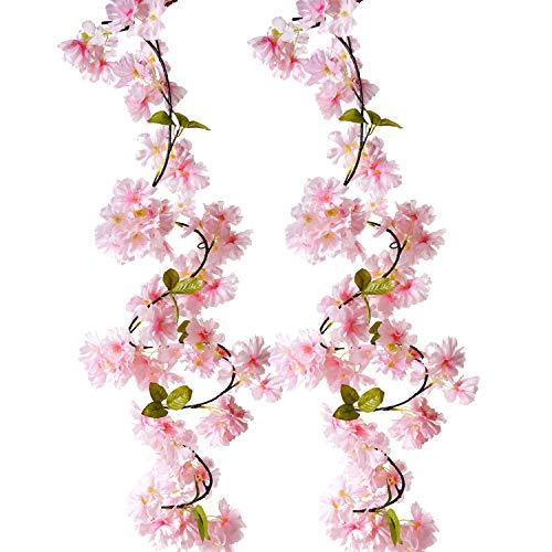 BEFINR Artificial Cherry Blossom Vine Pink Petal Flower Forever Plant Garland for Art Home Decoration Wedding Party Garden Office 2 -