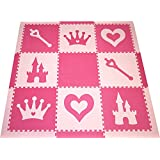 SoftTiles Princess Theme Foam Playmat | Princess Decor | Nontoxic Interlocking Floor Tiles for Girls' Playrooms & Baby Nursery | Light Pink and Dark Pink (6.5' x 6.5') SCPRIPC