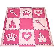 SoftTiles Princess Theme Foam Playmat | Princess Decor | Nontoxic Interlocking Floor Tiles for Girls' Playrooms & Baby Nursery | Light Pink and Dark Pink (6.5' x 6.5') SCPRIPC