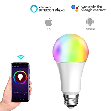 Bombilla LED Inteligente 10W RGB Blanco RGBW Cambio De Color Regulable WiFi Activar Control Remoto App