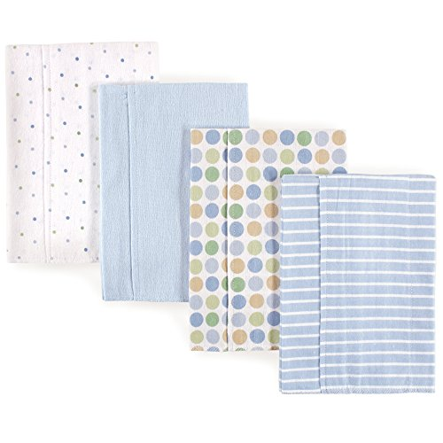 Luvable Friends Baby Layered Flannel Burp Cloth, Blue Polka Dots 4Pk, One ()