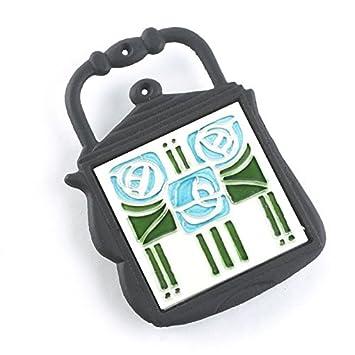 Hierro fundido y cerámica hervidor de agua salvamanteles - contemporáneo azul y verde diseño: Amazon.es: Hogar