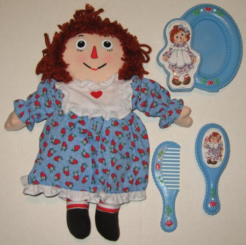 Set Andy Doll (Raggedy Ann Doll with Printed Face Vanity Gift Set with Frame, Brush & Comb - Sold by Avon)