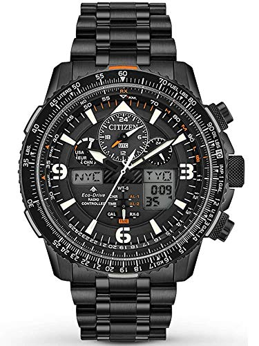 Eco Drive World Mens Timer - Men's Citizen Eco-Drive Promaster Skyhawk A-T Chronograph Black Bracelet Watch JY8075-51E